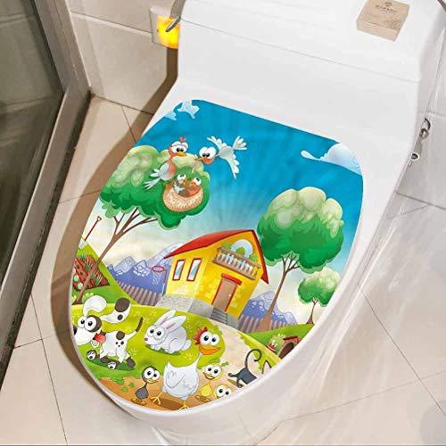 Homesonne Wall DIY Decoration Animal, Funny Goofy Farm Animals Bathroom Toilet seat Sticker Decal Bathroom/Toilet/PVC/Kitchen 3D Wall Decals 13 x 16 Inch