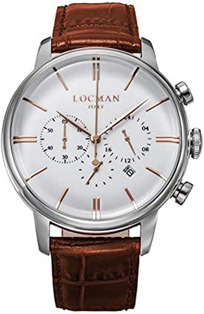 locman 1960Dolce Vita–Reloj Hombre/Esfera Blanca/Caja de Acero/Correa Piel Marrón/Ref. 0254a08r-00whrgpn