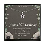 EFYTAL 50th Birthday Gifts for Women, 925 Sterling Silver Five CZ Cluster Necklace for Her, 5 Decade Jewelry 50 Years Old, Best Friend