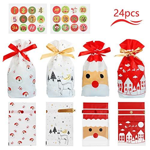 Matogle 24pcs Bolsas de Regalo de Navidad Calendario Bolsitas de Dulces Navideño con Cordón Bolsa...