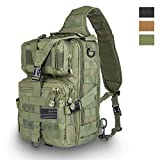 HAOMUK Tactical Sling Bag Pack Military Rover Shoulder Sling Backpack EDC Molle Assault Range Bag Everyday Out Carry Diaper Bag Carry Bag with USA Flag Patch Small