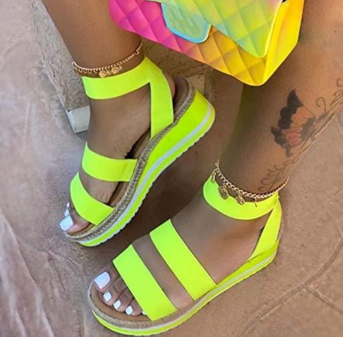 Hwcpadkj Zapatilla de Plataforma con cuña para Mujer, Sandalias de Verano, Sandalias y Pantuflas Romanas de Cuerda de cáñamo con Bloques de Color,Amarillo,37