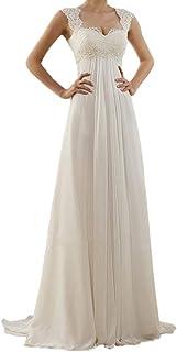 FRAUIT Abiti da Sposa Abito Donna Elegante Cerimonia Lungo Vestito Senza Schienale con Scollo A V Abito Eleganti da Cerimo...