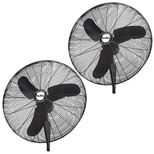 "Air King Industrial Grade 3 Speed 30"" 1/3 HP Oscillating Wall Mount Fan (2 Pack)"