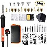 Kit de quema de madera ajustable, 50 piezas, pirografía, kit de hierro de 60 W, temperatura ajustable, set de herramientas para grabado y grabado (naranja)