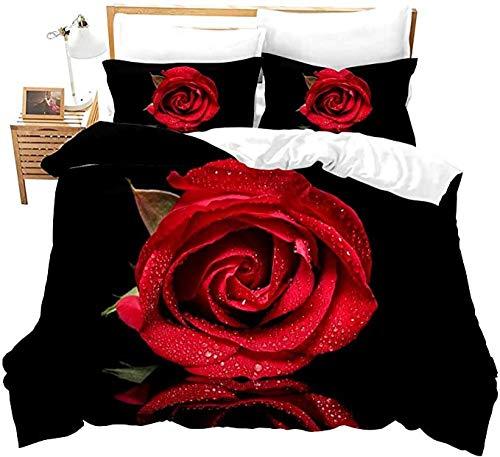 HUA JIE Funda nórdica para niñas King Red Rose Pattern Decor Juego de Ropa de Cama Jardín Impreso Adultos Adolescentes Niños Funda de edredón Blossom Flower Juego de edredón