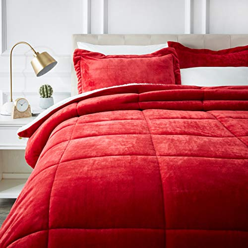 AmazonBasics Ultra-Soft Micromink Sherpa Comforter Bed Set - Full or Queen, Red