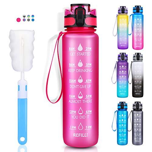 LEHOM Borraccia da 1 l, a prova di perdite, senza BPA, in Tritan, con indicazione del tempo, rosa, per campeggio, attività all'aperto, yoga, palestra, scuola, bicicletta, università, colore rosa