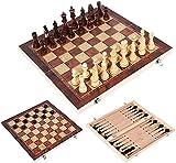 MWKLW Staunton Chess 3 en 1 Tablero de ajedrez Plegable Ajedrez de Madera Backgammon Damas Juegos de Viaje Juego de ajedrez