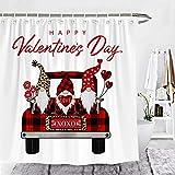 Wencal Happy Valentine's Day Buffalo Karo Karo LKW Zwerge Duschvorhang Herz Liebe Luftballons Bauernhaus Badezimmer Dekor Rot 183 x 183 cm