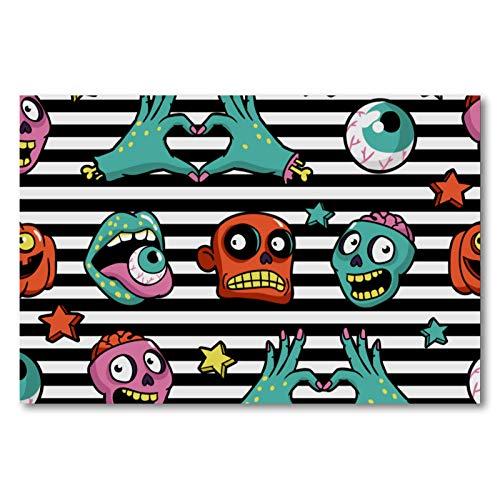 Póster de pared con marco para cocina, dormitorio, decoración del hogar, diseño de zombis, cara de ojo y cabeza de 50 x 75 cm