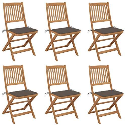 vidaXL 6X Madera Maciza Acacia Sillas de Jardín Plegables y Cojines Sillón Exterior Terraza Balcón Patio Butaca Asiento Mobiliario Muebles Duradera