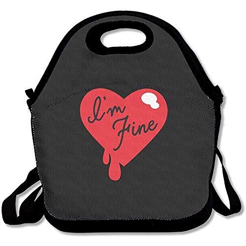 I'm Fine Funny Zombie Slash Large & Thick Neopren Lunch-Taschen Isolierte Lunch-Taschen Kühltasche Warm Warm Tasche mit Schultergurt für Frauen Teenager Mädchen Kinder Erwachsene
