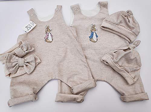 Peter Rabbit. Natürliche Babykleidung, Strampler, Hut, Stirnband. Haferflocken. Baumwoll-Leinen-Mix. Babyausstattung.