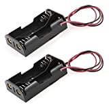 GFORTUN 2PCS Black Plastic 2 x 1.5V AA Battery Box Case Cell Holder Spring Clip Wire Leads...