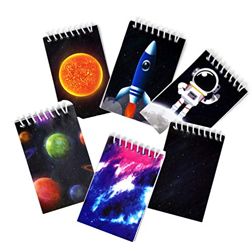 48 Outer Space Astronaut Mini Notepads Moon Rocket Ship Theme Memo Spiral Notebooks for Kids Boys Girls Solar System Planet Birthday Party Giveaway & Teacher Classroom Reward