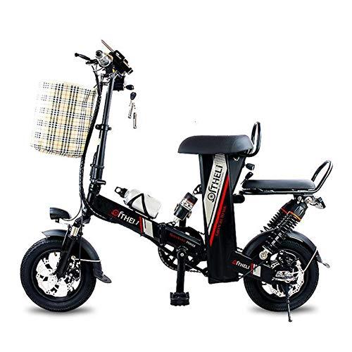 WM Adulto 2 Ruedas 400w Bicicleta eléctrica 12 Pulgadas Mini portátil Plegable Scooter eléctrico Padre-Hijo Coche 48v Batería de Litio Coche eléctrico con Cesta de Compras,Negro