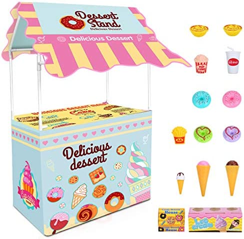 ISKYDRAW Ice Cream Cart Kids Ice Cream Stand Shop Playset Toy Role Play Educational Colorful product image