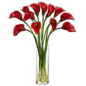 Nearly Natural 1187-RD Mini Calla Lily Silk Flower Arrangement,Red