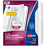 Avery A-Z Extra-Wide 3 Ring Binder Dividers, Customizable Table of Contents, Multicolor Tabs, 1 Set (11166),Black & White