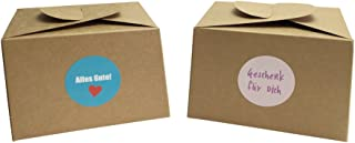EAST-WEST Trading GmbH - Juego de 12 cajas de cartón natural, incluye 24 pegatinas de regalo para pasteles, galletas, cupcakes y todo tipo de regalos