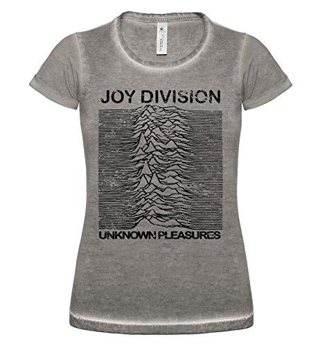 LaMAGLIERIA T-Shirt Donna Vintage Look Joy Division Japan D cod. Grpr0087 - Maglietta DNM Plug in Effetto Vintage con Stampa Rock, Small, Grey Clash