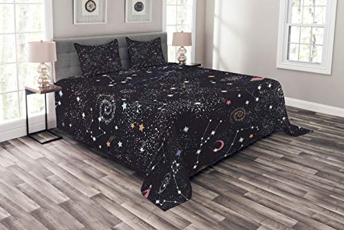 Lunarable Constellation Bedspread, Star Clusters Galaxies and Planets Astrology Themed Abstract Illustration, Decorative Quilted 3 Piece Coverlet Set with 2 Pillow Shams, Queen Size, Space Blue