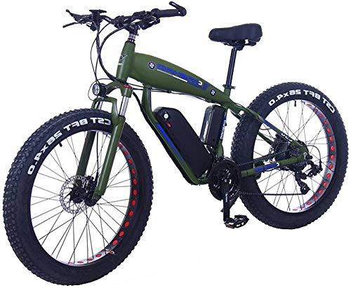 Elettrica bici elettrica Mountain Bike Fat Tire bicicletta elettrica 48V 10Ah batteria al litio con assorbimento di scossa Sistema 26inch 21speed adulti Snow Mountain E-bike freni a disco (Colore: 10A