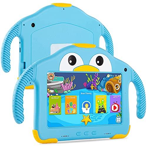 Tablet per bambini da 7 pollici, Quad Core Android 10.0, 32 GB ROM, Wi-Fi, doppia fotocamera, sicurezza per bambini, software preinstallato per bambini, supporto Google Play Store 6 ore per batteria