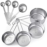 Tribal Cooking Metal Measuring Cups and Spoons Set - Professional Stainless Steel - 8 Pieces Cup and Spoon Set - Measure Dry or Liquid Ingredients- Kitchen Measuring Sets for Baking and Cooking