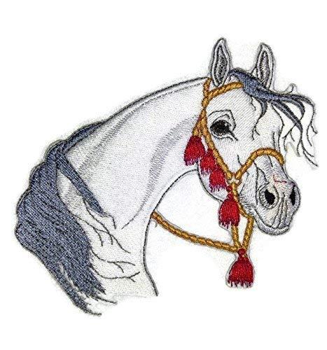 BeyondVision Individueel en uniek paardengezicht geborduurde ijzeren naaipatches 5.3 x 5 wit, zwart, bruin, grijs