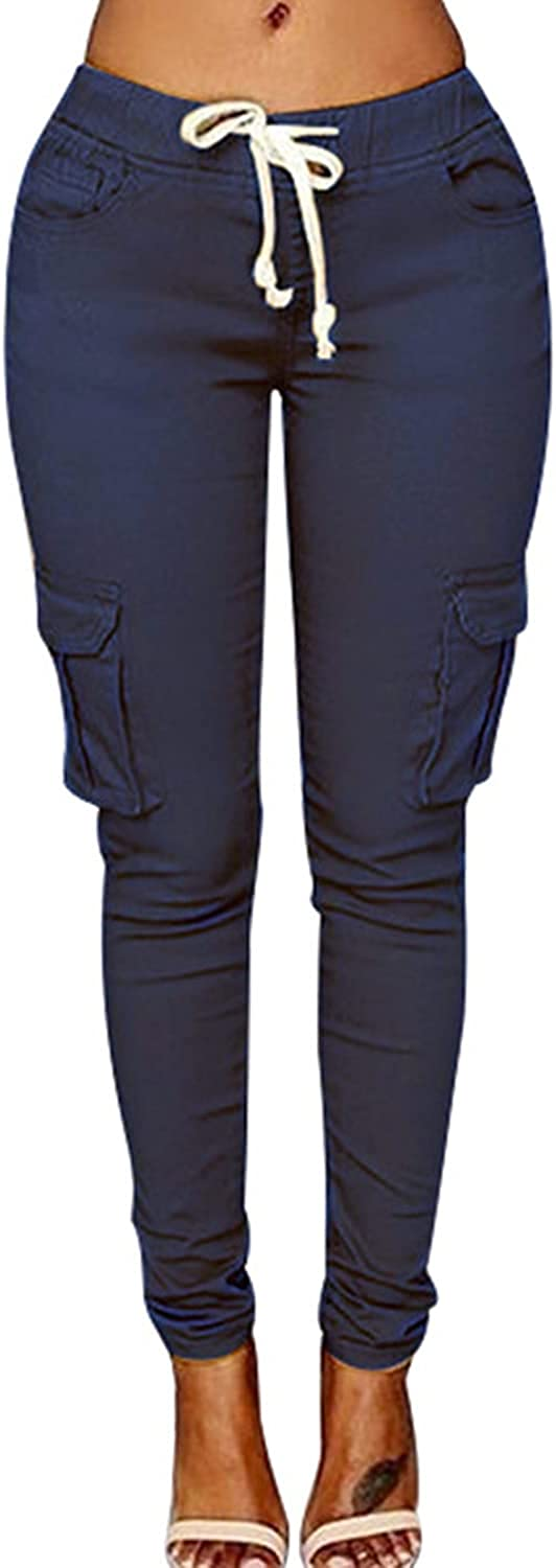 Women's Solid Color Drawstring Skinny Pants Multi Pocket Stretch Cargo Pant Ladies Slim Elastic Waist Casual Trousers (3X-Large,Navy blue)