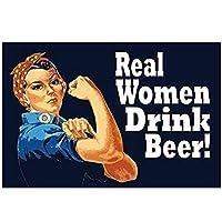 REAL WOMEN DRINK BEER-VINTAGE STYLEPOSTER油絵キャンバスプリントウォールアートリビングルームの寝室の装飾-60x100cmx1フレームなし