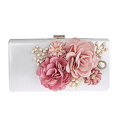 KELAND Frauen Satin Blume Abend Handtasche Clutch Perle Perlen (Silber)