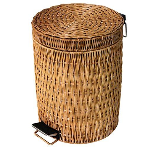 POETRY vuilnisemmer voor woonkamer, slaapkamer van de familie, zonder deksel, mand van bamboe en rotan, groot, voor kantoor, prullenbak van 3-12 l voor binnen