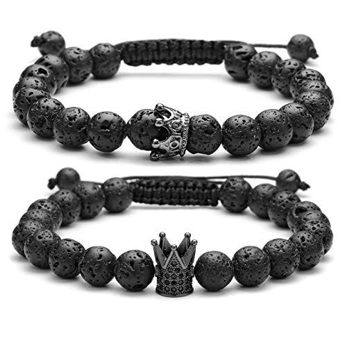 Jovivi Par de pulseras elásticas y ajustables Rey y Reina King And Queen con corona de piedra de lava de 8 mm, regalo para aniversario Negro