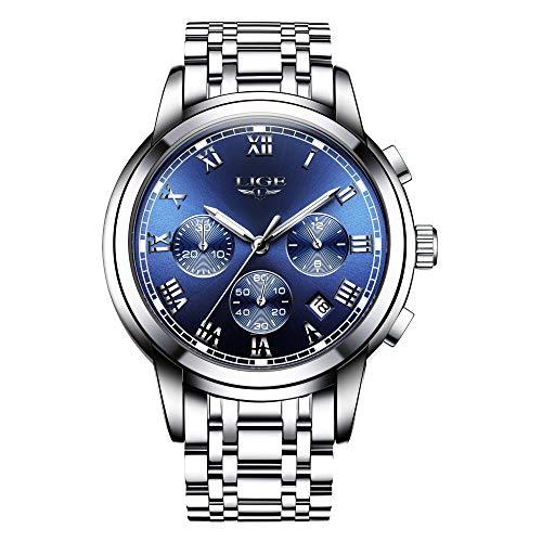 LIGE Uhren Herren wasserdichte Mode Analog Quarzuhr Herren Chronograph Edelstahl Armbanduhren