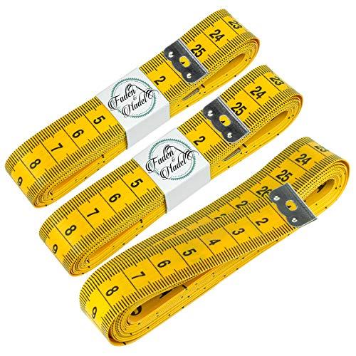 Faden & Nadel 3 cintas métricas de sastre, color amarillo, longitud de 300 cm cada una / 3 metros de largo.