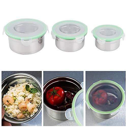 Denkerm Recipiente de conservación, Resistente al Calor, Resistente a la corrosión, Caja de Almacenamiento para frigorífico de 3 Piezas/Juego, con Tapa, práctico para almacenar Alimentos,