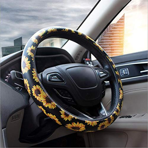 Carmen Sunflower Steering Wheel Cover Microfiber Leather Universal 15 Inch Floral Design Car Accessories Women Girls Best Gift