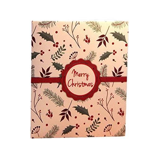 Xuxuou 15 * 15cm 3D Tarjetas de Felicitación Tridimensional Postales del árbol de Navidad Regalo Decoración Navidad Size 13 * 15.5CM (Rojo)