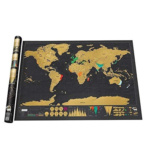 CROSYO 1 Stück Deluxe Black Scratch Off World Map 82.5 x 59.4cm Black Map Kratzer mit Zylinder Verpackungsraum Dekoration Wandaufkleber