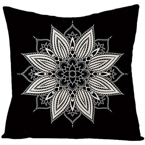 Beydodo Cojines,Patrón de Mandala,Fundas para Cojines de 40 x 40 Set Funda Cojines Negro Blanco