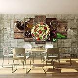 LWJPD Cuadro en Lienzo 5 Partes Cocina Italiana Pasta Aceite De Oliva Aceite De Oliva Ajo Pintura Al Óleo Decoración De La Cocina Mural Modular para Sala De Estar Sin Marco 60 Inch