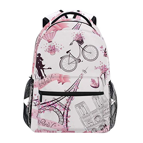 MAHU Backpack Valentine Paris Eiffel Tower Adults School Bag Casual College Bag Travel Zipper Bookbag Hiking Shoulder Daypack for Women Men