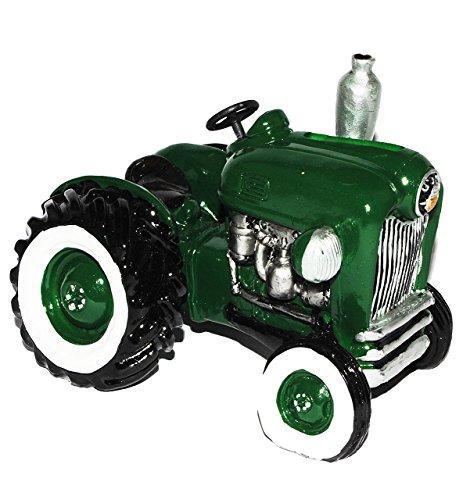 alles-meine.de GmbH Spardose Traktor / Oldtimer - grün - stabile Sparbüchse aus Kunstharz - Auto Fahrzeug Geld Sparschwein Trecker Fahrzeuge lustig witzig - Reisekasse Bauernhof ..