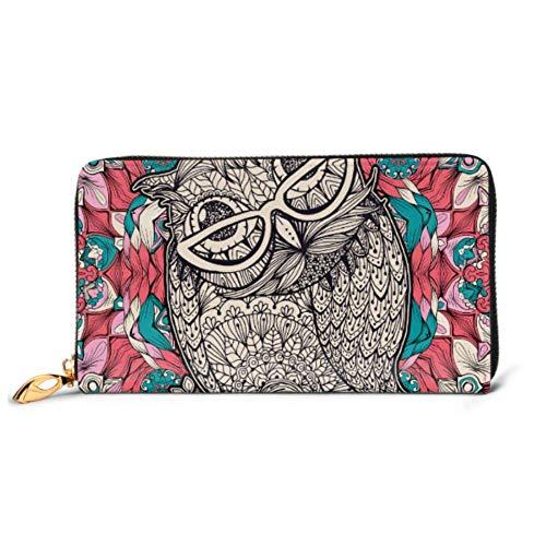 JHGFG Mode Handtasche Reißverschluss Brieftasche Eule Brille Malvorlagen Telefon Kupplung Geldbörse Abendkupplung Blockieren Leder Brieftasche Multi Card Organizer