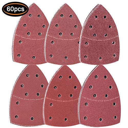 Preisvergleich Produktbild Malayas 60 Stück Schleifblätter,  je 10 Stück sortiert,  Körnung 40 / 60 / 80 / 120 / 180 / 240 Körnungen,  einschließlich aller Körnungen,  grob bis fein, Schleifpads für Multischleifer