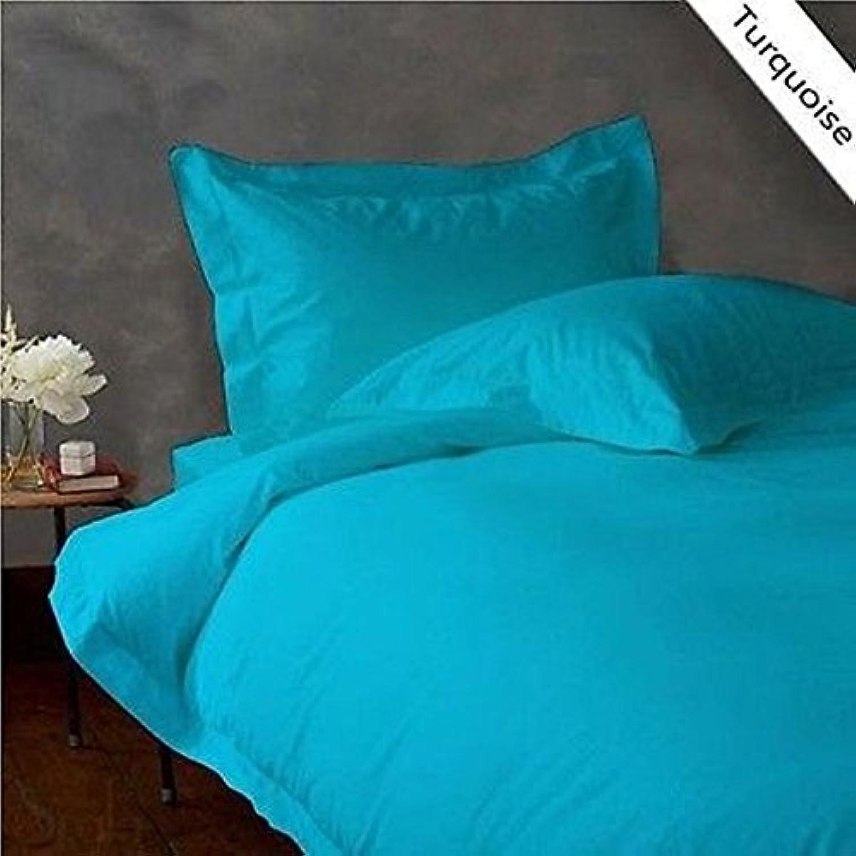 Dreamz Bedding Italien supérieure en Coton égypcravaten 400Fils Parure de lit 66cm Poche Profonde suppléHommestaire Unique Long, Bleu Turquoise Bleu Sarcelle Solide, 400Fils Parure de lit de 100% Coton