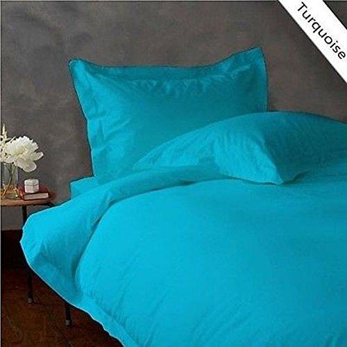 Dreamz Parure de lit 300 fils Drap-housse (Poche profonde : 76,2 cm) avec 2 taies d'oreiller Unique Long, Bleu turquoise/bleu sarcelle solide, 300tc 100% coton Poche profonde supplémentaire Drap-housse